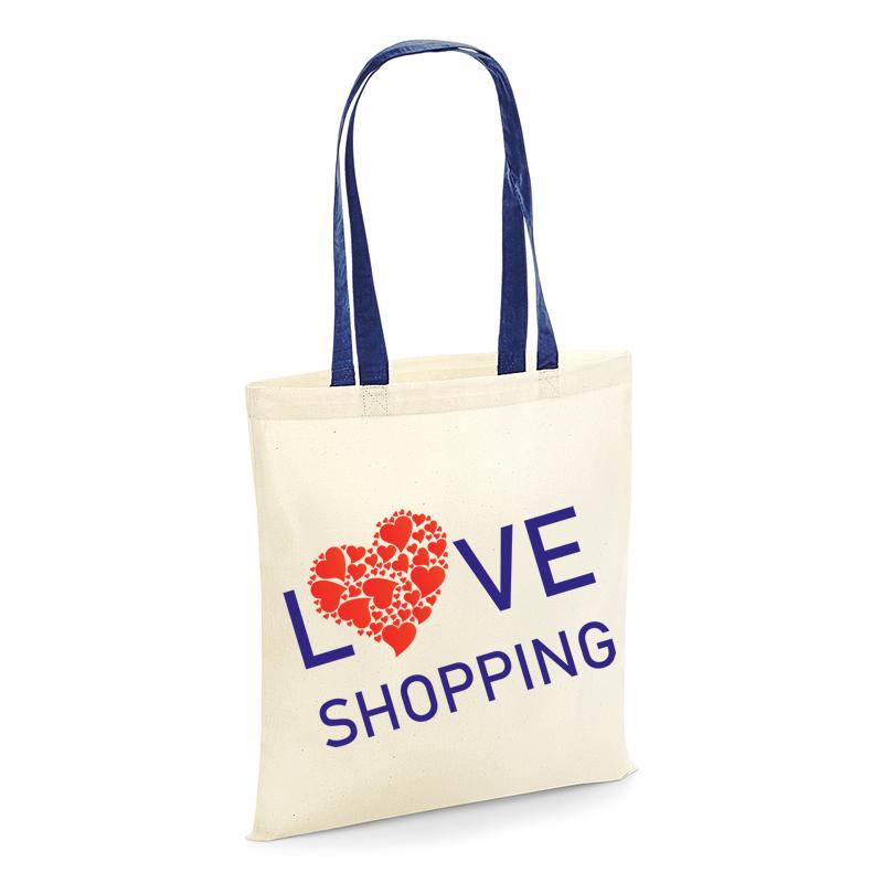 Tote shopping bag love shopping